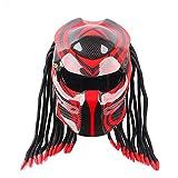 AZW@ Casco de la Personalidad de la Motocicleta Casco de Fibra de Carbono Predator Warrior, Equipo de Protección, Casco de Locomotora,Rojo,XL