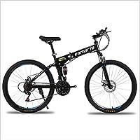 MarvBike-Mountain Bike,Bicicleta de montaña Plegable 26 Pulgadas,Todoterreno para Adultos, de velocidades 21,24,27, con neumáticos Resistentes y Frenos de Doble Disco, con Rueda de radios,Negra