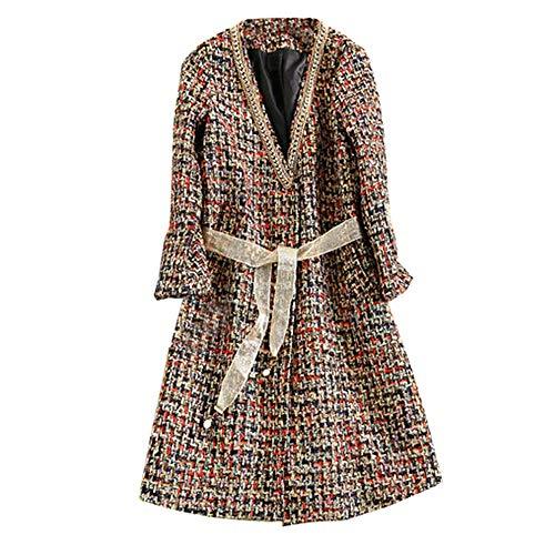 AAADRESSES Trenchcoat Damen Windjacke Lang Kapuze Herbst Winter Jacke Damen Lässiger Wollmantel Mit Langen Ärmeln,Braun,XL