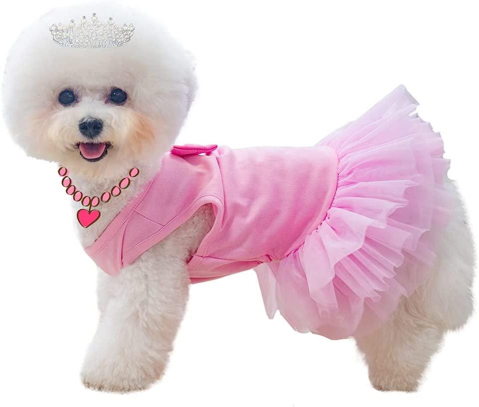 2021 spring and summer new BINGPET Dog Dress with Color Fixed price for sale Bow Dres Puppy Tie Breathable Soft