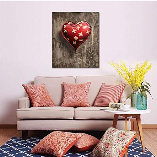 Terilizi Hartvormige rode ballon bedrukt muurschilderingen canvas schilderij voor woonkamer muurkunst decoratie poster en print-50x70 cm geen lijst