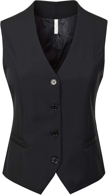 Design by Olivia Women's Fully Lined 4 Button V-Neck Economy Dressy Suit Vest Waistcoat