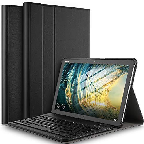 IVSO Tastatur Hülle für Huawei MediaPad M5 Lite 10, [QWERTZ Deutsches], Superdünn Ständer Schutzhülle mit magnetisch abnehmbar Wireless Tastatur für Huawei MediaPad M5 Lite 10.1 Zoll 2018, Schwarz