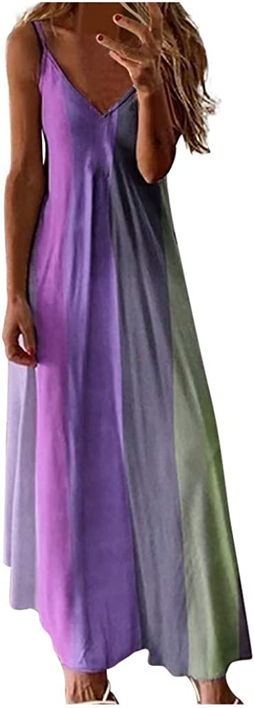 NLOMOCT Dresses for Women, Womens Casual Summer Maxi Dress Plus Size Sundress V-Neck Sleeveless Beach Party Long Dress