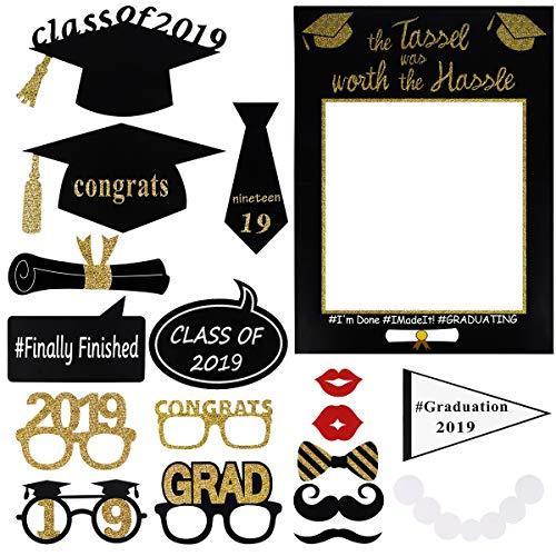 BESTOYARD Graduazione Foto Puntelli Graduazione Photo Booth Cornice Glitter Complimenti Decorazioni Festa di Laurea per 2019 Forniture per Feste di Laurea
