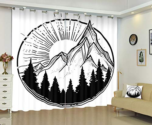 THE MINI CRUSH Geometry Curtains,Beautiful Nature Landscape Mountains Pine Forest and Sun Tattoo,Soundproof Blackout Curtains for Bedroom Living Room Window Drapes 2 Panel Set,108X96 Inches