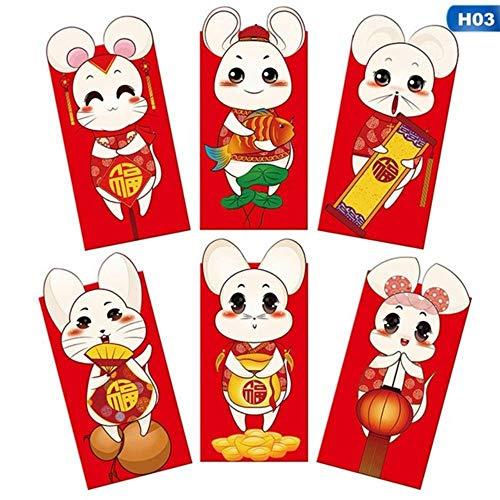 6 piezas/paquete de alta calidad chino fortuna año rata sobre rojo niños año nuevo bolsillo rojo para estudiantes niños regalo, H03