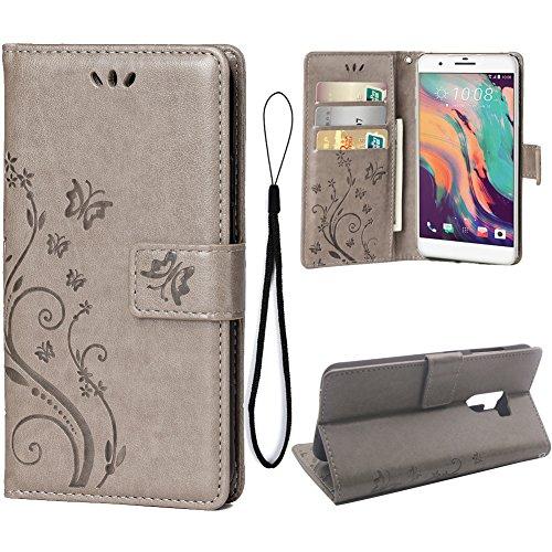 Teebo Hülle für HTC ONE X10 Schutzhülle aus PU Leder Handyhülle mit geprägtem Schmetterling-Muster Kartenfach & Magnetverschluss grau