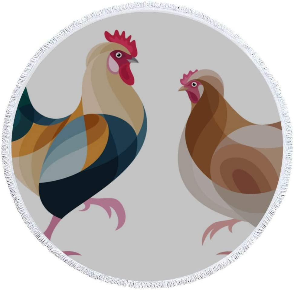 WIEDLKL Thick Round Beach Towel Chickens Sulmta Stylized Super popular specialty store It is very popular Blanket