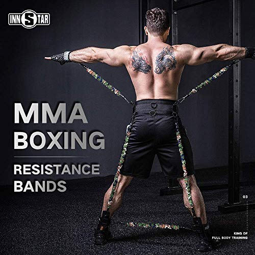 YNXing MMA Boxing Training Resistance Band Set Enhance Explosive Power Strength Training Equipment for Muay Thai,Karate Combat,Fitness,Basketball,Volleyball,Football Men&Women (225LB Camo army green)
