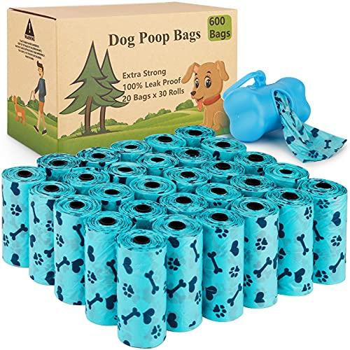 Tonsooze Hundekotbeutel 600 auslaufsichere Kotbeutel und 1 Kotbeutelspender, Kotbeutel Biologisch aus Maisstärkebiologisch, Dog Poo Bags, wasserdicht, reißfest, extra groß, stark(Blau)
