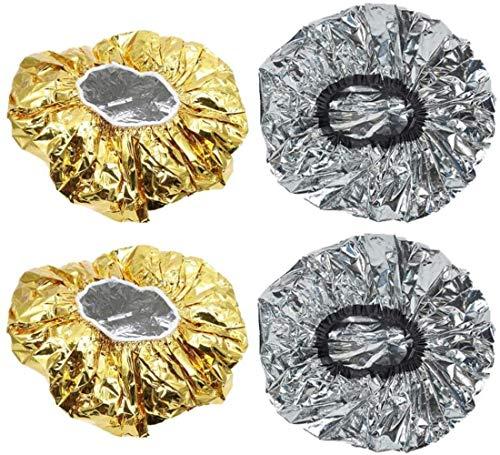 Xst Capuchon de Papier d'aluminium Capuchon de Coloration des Cheveux élastique Cap de Douche à Chaleur jetable pour Un Spa de Salon de Conditionnement en Profondeur (Argent doré), 4pcs