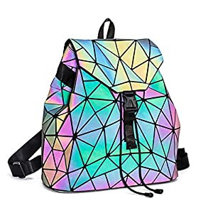 Suuran Geometric Backpack for Women Reflective Holographic Backpacks Luminous Shard lattice Shoulder Bag Fashion Rucksack, NO.2