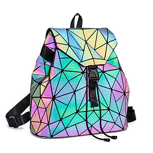 Suuran Geometrische Taschen Reflektierend Rucksack Damen, Handtasche Holographic Holo Schultertasche Geldbörse Geometrischer Leuchtende Taschen Set Handytasche NO.2