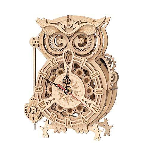 ROKR 3D Holzpuzzle Eule Modellbausätze DIY Uhrwerk für Jugendliche und Erwachsene Geschenkideen