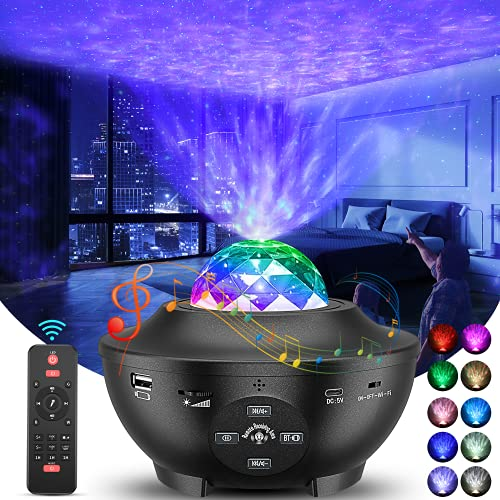 Projecteur Ciel Étoile,Projecteur galaxie Lampe Projecteur Étoile de Rotatif Nuage,10 couleurs veilleuse enfant,Télécommandées,Lecteur Musique avec Bluetooth et Minuterie,pour Chambres/Enfants/Fête