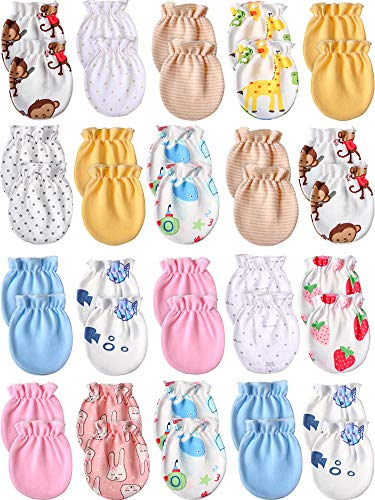 20 Pairs Newborn Baby No Scratch Mittens Unisex Baby Gloves Infant Toddler Mitts Set for 0-6 Months Baby Boys and Girls
