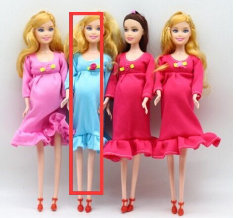 Lamdoo Puppe für Schwangere mit braunem Haar, 1 Stück blau