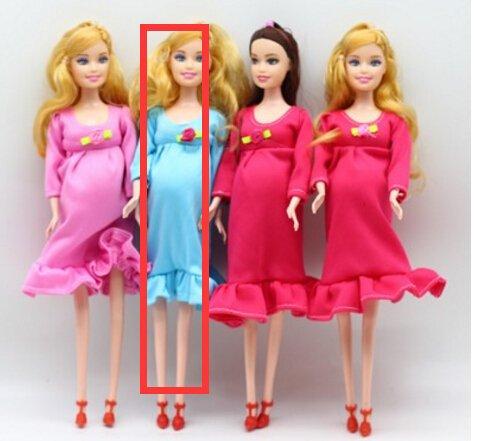 Fuwahahah 1 stks DIY Bruin Haar Echte Zwangere Moeder Pop Hebben Een Baby in Haar Tummy voor Barbie Poppen Kind Speelgoed Gift JUN Blauw