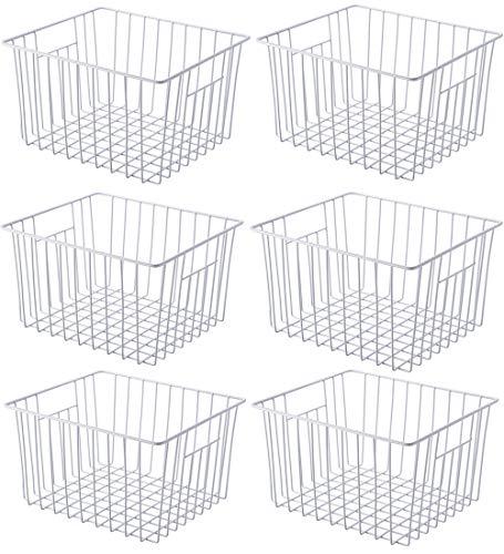 SANNO Freezer Wire Baskets, Refrigerator Bin 6 Pack Wire Basket for Storage Durable Metal Basket Pantry Organizer Storage Bin Baskets for Kitchen Cabinets, Pantry, Bathroom, Countertop, Closets