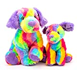 16'' Rainbow Dog Stuffed Animals Plush, Soft Cuddly Labrador Plush Toys, Large Stuffed Dog with Colorful Fur, Puppy Dog Stuffed Animals, Mother's Day, Birthday, for Kids, Pets,Girls, Colorful