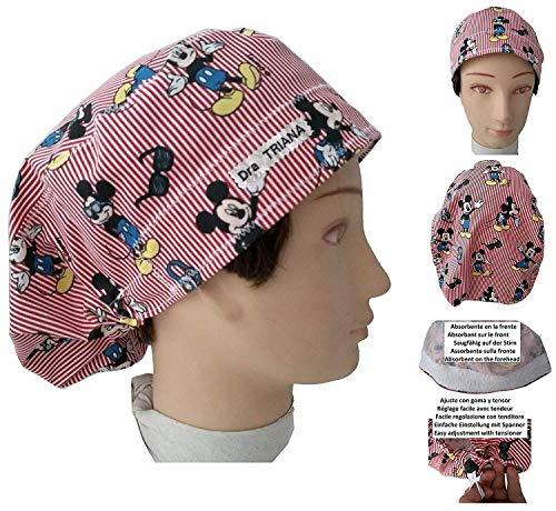 Chirurgische Kappe Frau MICKEY mit Knöpfen und gesticktem Namen in Optionen, Krankenschwester, Zahnarzt, Tierarzt, mit Handtuch auf der Stirn und einstellbarer Größe, BolsoHatillo TC