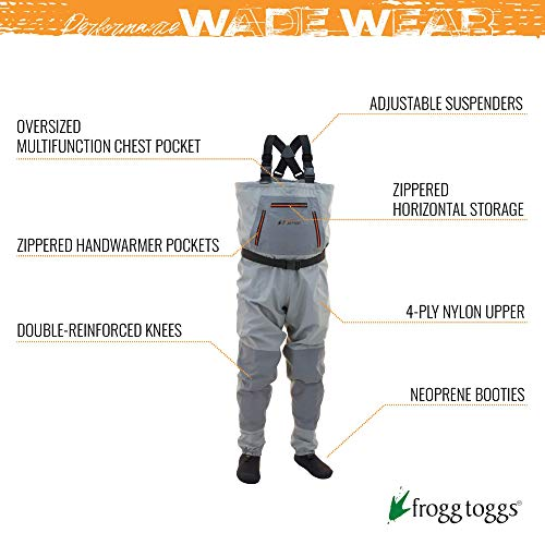Frogg Toggs Hellbender Breathable Stockingfoot Chest Wader, Stout, Slate Gray, Size Large Stout