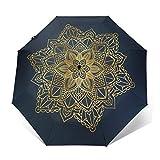 Paraguas De Viaje Tríptico Automático, Ligero Y Fácil De Transportar,Mandala Dorado