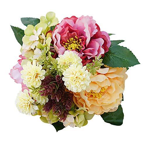 Austinstore 1Bouquet de fleurs artificielles hortensia pivoine artificielle pour décoration de maison champagne