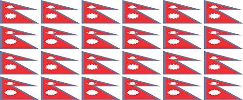 Mini Aufkleber Set - Pack glatt - 33x20mm - Sticker - Nepal - Flagge - Banner - Standarte fürs Auto, Büro, zu Hause & die Schule - 24 Stück