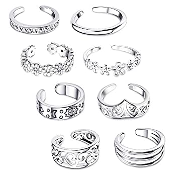 FIBO STEEL 8 Pcs Open Toe Rings for Women Girls Vintage Cute Band Toe Ring Adjustable