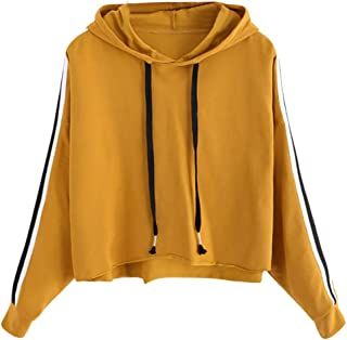 Limsea 2019 Women's Tops Hoodies Pullover Sweatshirt Autumn Winter Christmas Striped Color Block Crop Long Sleeve