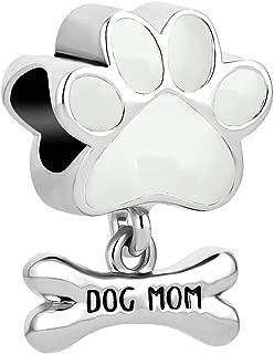 Q&Locket Heart Love Dog Mom Charm Pet Paw Print Charms for Bracelets