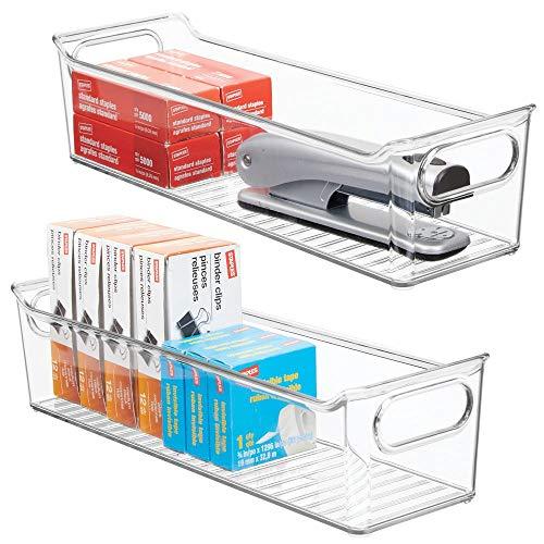 mDesign Juego de 2 cajas de almacenaje con asas integradas – Cajas organizadoras para cocina, baño o material de oficina – Organizador de escritorio en plástico – transparente