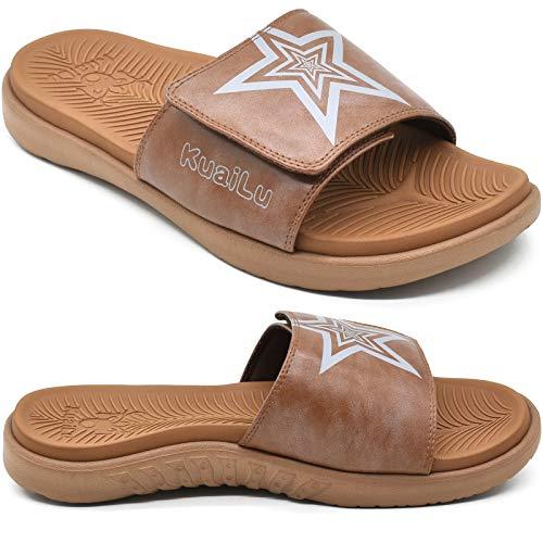 KUAILU Hombre Sandalias de Playa de Punta Descubierta Slide Deportivo Ajustable Zapatillas de Verano Ortopedicas Marrón talla 47