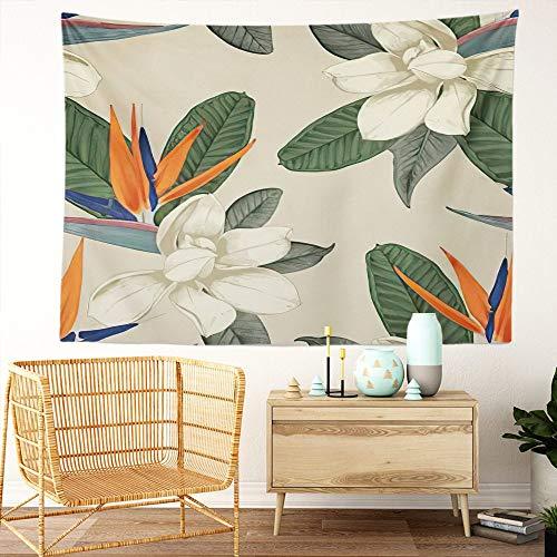 Y·JIANG Magnolia Tapiz, flores tropicales florales botánicas para el hogar dormitorio tapiz grande decorativo, manta ancha para colgar en la pared para sala de estar, dormitorio, 152,4 x 127 cm