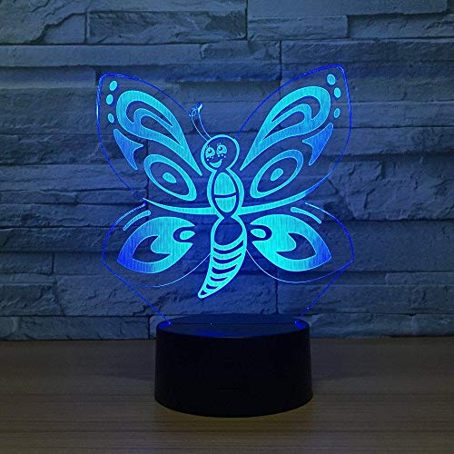 3D Illusion Night Light bluetooth smart Control 7&16M Color Mobile App Led Vision Butterfly Seven s Kids USB Home Garden Decor Unique colorful Creative gift