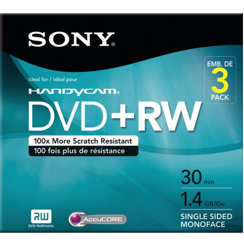 Sony 3DPW30R2HC 3-Pack 8cm DVD+RW with Hangtab