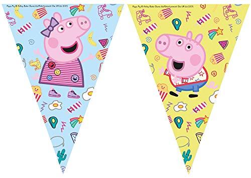 Procos 91104 - Flaggenbanner Peppa Pig, Länge 230 cm, Größe der Wimpel ca. 17,5 x 25,5 cm, Girlande aus Kunststoff, Peppa Wutz, Party, Dekoration