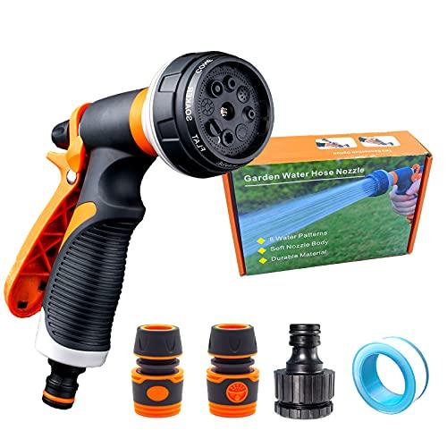 Kit de pistola para manguera de jardín para el hogar,boquilla de alta presión no gotea,8 modos de ajuste,con conectores,muy adecuado para regar lavados de coche y duchas de mascotas