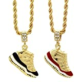 Mens Gold Plated Hip Hop Retro 11'Concord' &'Cherry' Pendants 4mm 24' Rope Chain