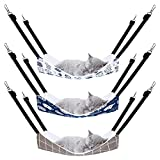 Pedgot 3 Pack Reversible Cat Hanging Hammock with Adjustable Straps and Hooks Double-Sided Pet Cage Hammock Hanging Bed Resting Sleepy Pad for Small Animals Pets, 23.6 x 20 Inches
