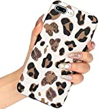 L-FADNUT Case Animal Leopard Print Phone Case Cool for iPhone 7 Plus Case iPhone 8 Plus Thin Cute Back Cover Cheetah Cat Silicone TPU Protective Cover(NO Real Glitter) for iPhone 7 Plus/8 Plus Case
