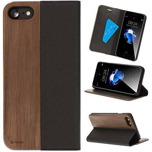 NALIA Wood Flip Case compatibile con iPhone SE 2020/8 / 7 Custodia, Legno Full Body Wallet Cover Fronte e Retro, Protezione Integrale Telefono Cellulare Copertura Bumper Resistente, Colore:Noce