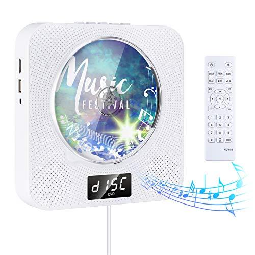 Gueray Reproductor de DVD CD portátil Bluetooth con Control Remoto Radio FM Altavoces incorporados Conector de Auriculares Altavoz HiFi FM Salida de Entrada USB AUX HDMI incorporada