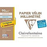 Clairefontaine 96555C Velin Millimetre pochette 15F 21x29,7cm 90g papier lisse - 3F gratuites