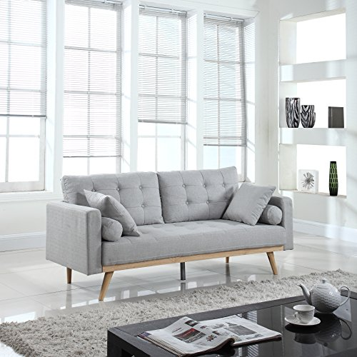 Divano Roma Furniture Mid-Century Sofas, Light Grey