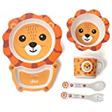 Löwe Kinder-Geschirr-Set Bambus, 5-teilig Kinderbesteck & Tiermotiv, BPA-frei, Kinderteller, Suppenschale, Kindertasse, Kinderlöffel, Kindergabel