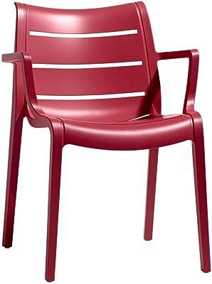 ARREDinITALY Juego 4 poltroncine para exterior y interior de Tecnopolimero – Rojo – 100% Made