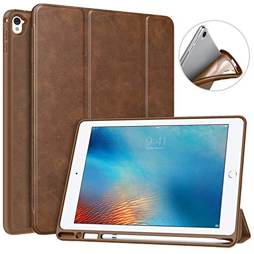 MoKo Funda con Stylus Pencil Soporte para iPad Pro 9.7 Tableta, Ligera Función de Soporte Protectora Plegable Durable (Auto Sueño/Estela) - Marrón